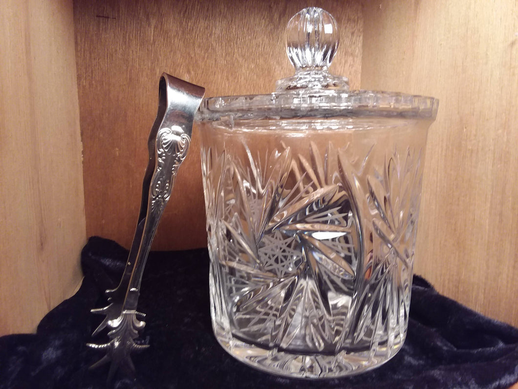 Vintage crystal Ice Bucket  with lid and SP Ice Tongs