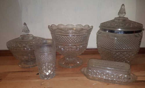 5pc. Set of Anchor Hocking Wexford Pattern Glassware