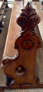 19th Century Hand Carved Church Pews
