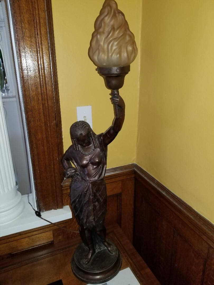 Egyptian Revival Patinated Metal Figural Lamp