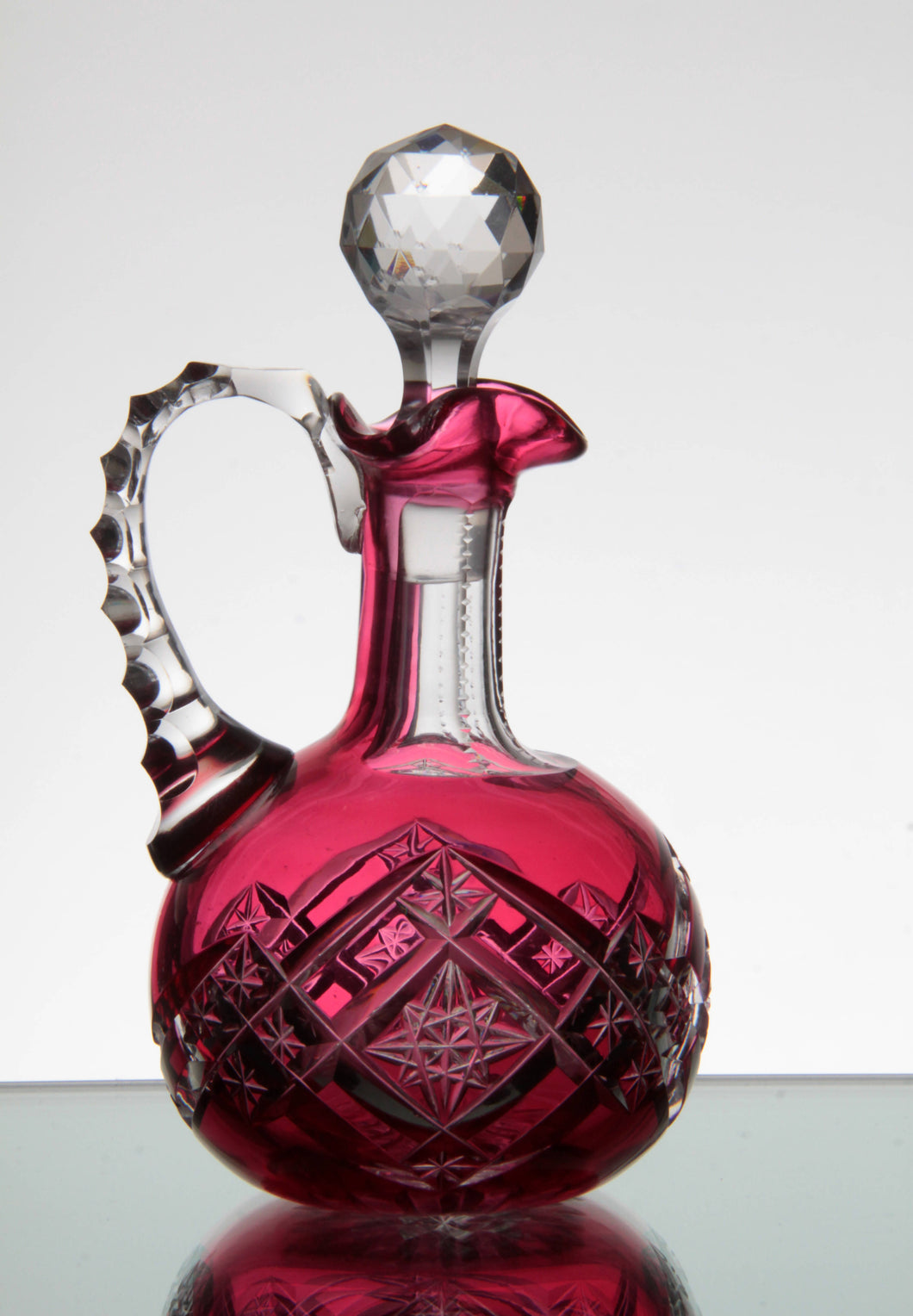 Dorflinger ABP Cranberry Cut to Clear Decanter