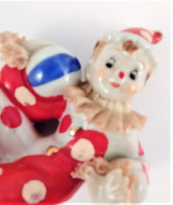 Clown Figurine Vintage 1950s Wales Japan Red and White Handpainted Porcelain Tramp Circus Clown Boy Harlequin Jester Perriot Clown Knick Knack Kitsch Clown Collector Gift.