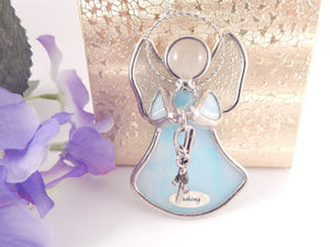 Stained Glass Fishing Angel Christmas Ornament Vintage GANZ Giftware Art Glass Blue Angel Sun Catcher