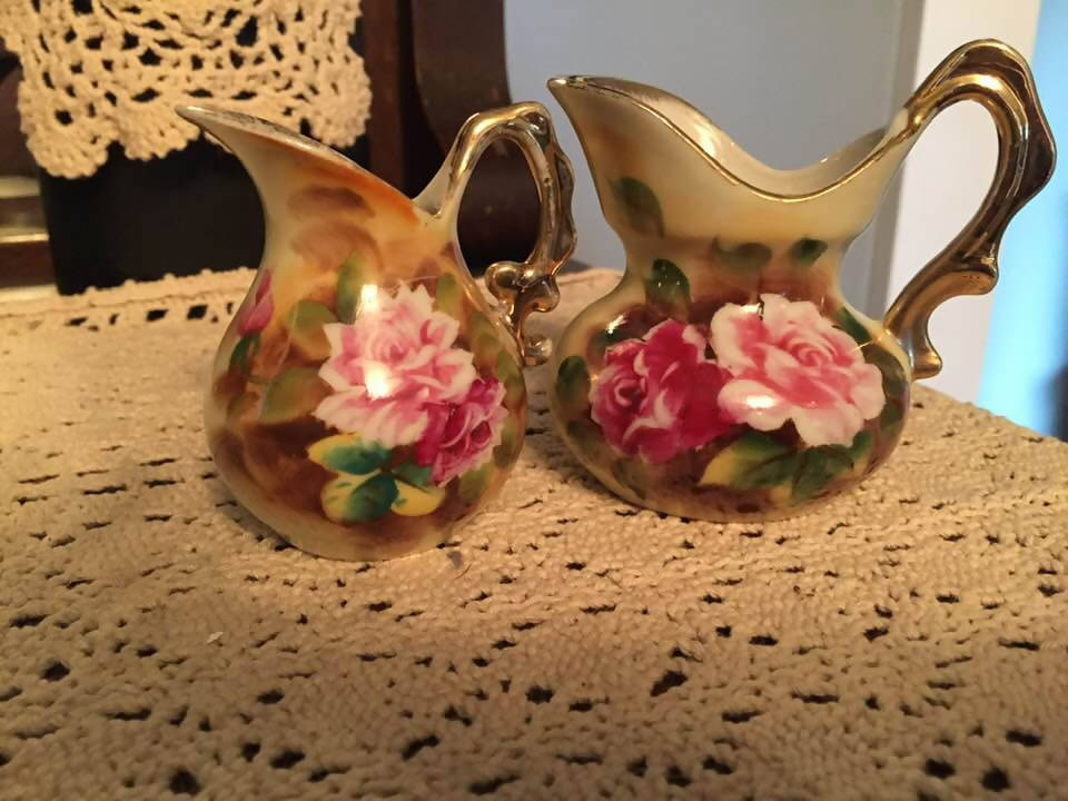 NIPPON SMALL ROSE PITCHERS GOLD TRIM
