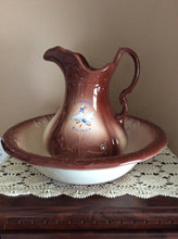 Vintage Ironstone Pottery Pitcher and Basin Set