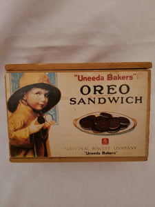 """Uneeda Bakers"" Oreo Sandwich Recipe Box Painted Wood"
