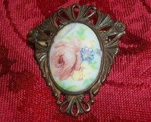 Victorian Brooch Antique 1940s Pink Rose Porcelain Transferware Pin Filigree Metal Oval Floral Jewelry