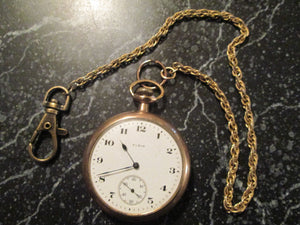 Pocket Watch Elgin 1897 open face, 16s, gold plated, 15 jeweled with chain