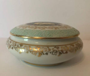 FM Limoges France Fragonard Romantic Courting Couple Trinket Box or Ring Box with Lid