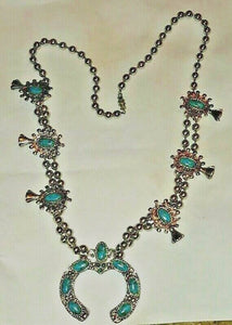 "28"" Native Squash Blossom Necklace Turquoise"