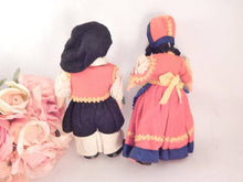 "Boy and Girl Dolls Vintage 1930s 8"" Fabric Stockinette Felt Mask Face Italian Heritage Old World Europe Collectible Display Doll Set"
