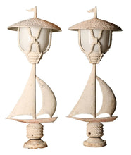 Pair of Vintage cast Aluminium Post Lights. Nautical