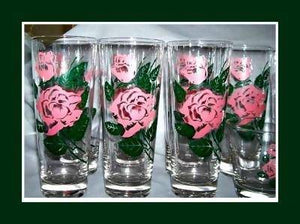 Vintage Shabby Tea Rose Glasses - 12