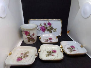 Vintage Royal Sealy Japan Moss Rose China 6 Piece Cigarette-Smoking Set