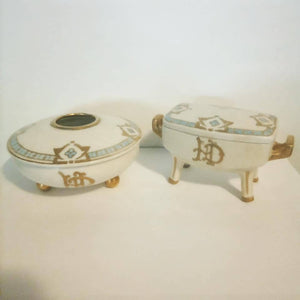 Vintage Limoges vanity hair keeper and trinket box.