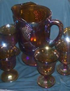 Indiana Glass Iridescent Gold Harvest Pitcher with Goblets