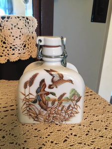 VINTAGE BAVARION VILLAGE RAUSCHEN PORCELAIN MALLARD WEST GERMANY FLASK