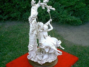 BEAUTIFUL 1970's CAPIDOMONTE SWING LOVERS STATUE,,,,,,,JUST AWESOME