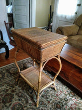 Vintage Bamboo and Rattan Side Table With Serving Tray Boho Chic Bar