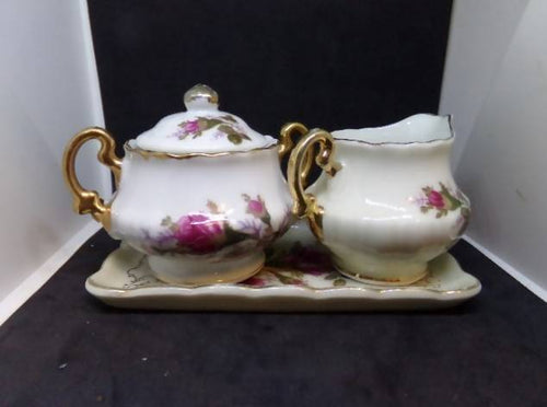 Vintage Royal Sealy Japan Moss Rose China 4 Piece Creamer & Sugar Set