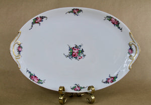 "Antique Limoges Large 17"" Long Rose and Petite Blue Floral Platter"