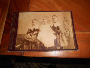 Late 1800's Cabinet Card Photo 3 Stylish Children-Akron, Ohio