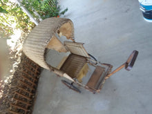 SUPER RARE....1920's WICKER. FULL SIZE, TONGUE PULL, BABY CARRIAGE.......LOOK