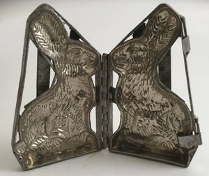 "Antique Heavy Metal Locking Hinged Chocolate Mold 9"" Bunny Rabbit"