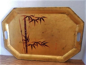 Serving Tray Lacquer Ware Wooden Tea Tray Hand Painted Bamboo Vintage 1970s Asian Home Decor
