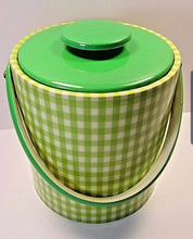 Retro Green Gingham Vinyl Ice Tub With Lid