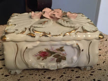 WAEES ROSE TRINKET BOX TRIMED IN GOLD FROM JAPAN