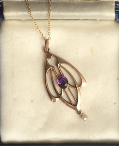 Antique Victorian Arts & Crafts Amethyst + Pearl Lavaliere Pendant marked 9ct with Chain