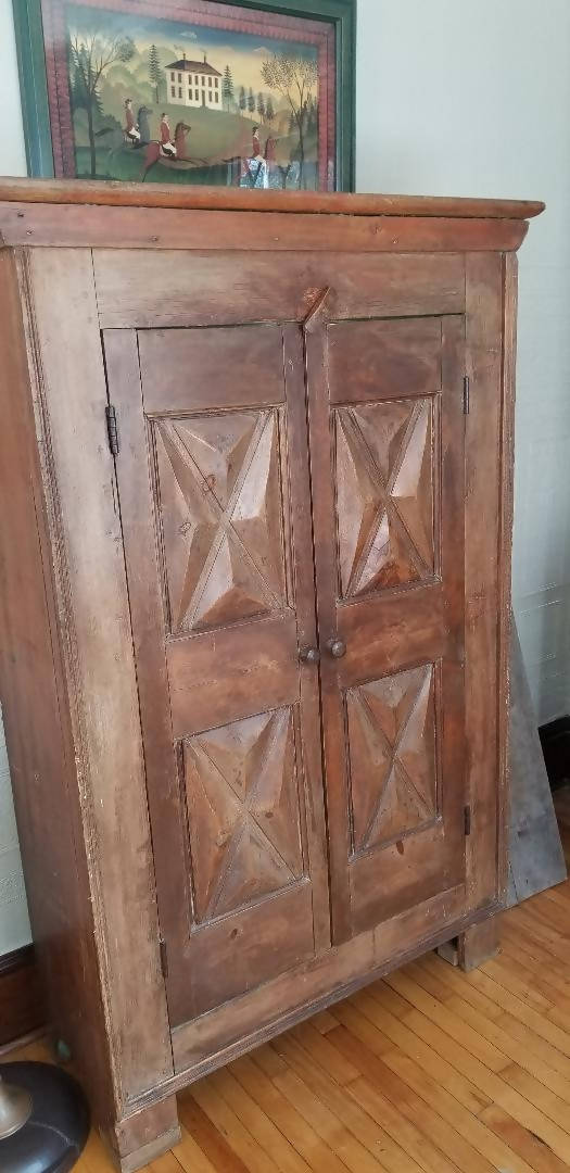 Early 19th Century Quebec Diamond Point Cupboard