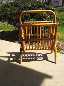 20th Century Boho Chic Bamboo and Rattan Magazine Holder