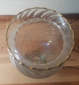 Large Iridescent Glass Vase with Gold Trim