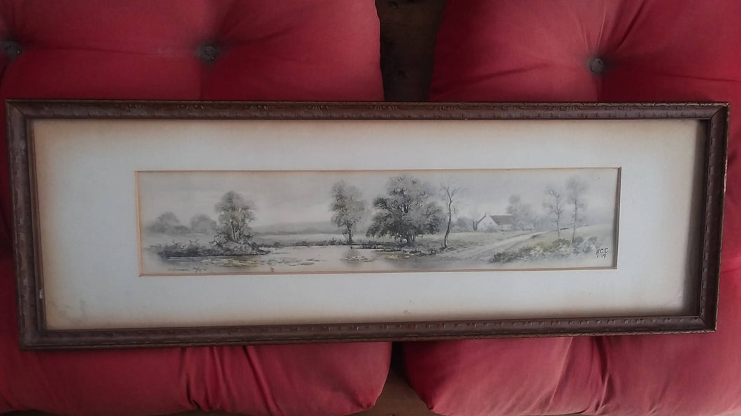 BEAUTIFUL 1914 B & W WATERCOLOR.....FRAMED AND SIGNED UNDER GLASS