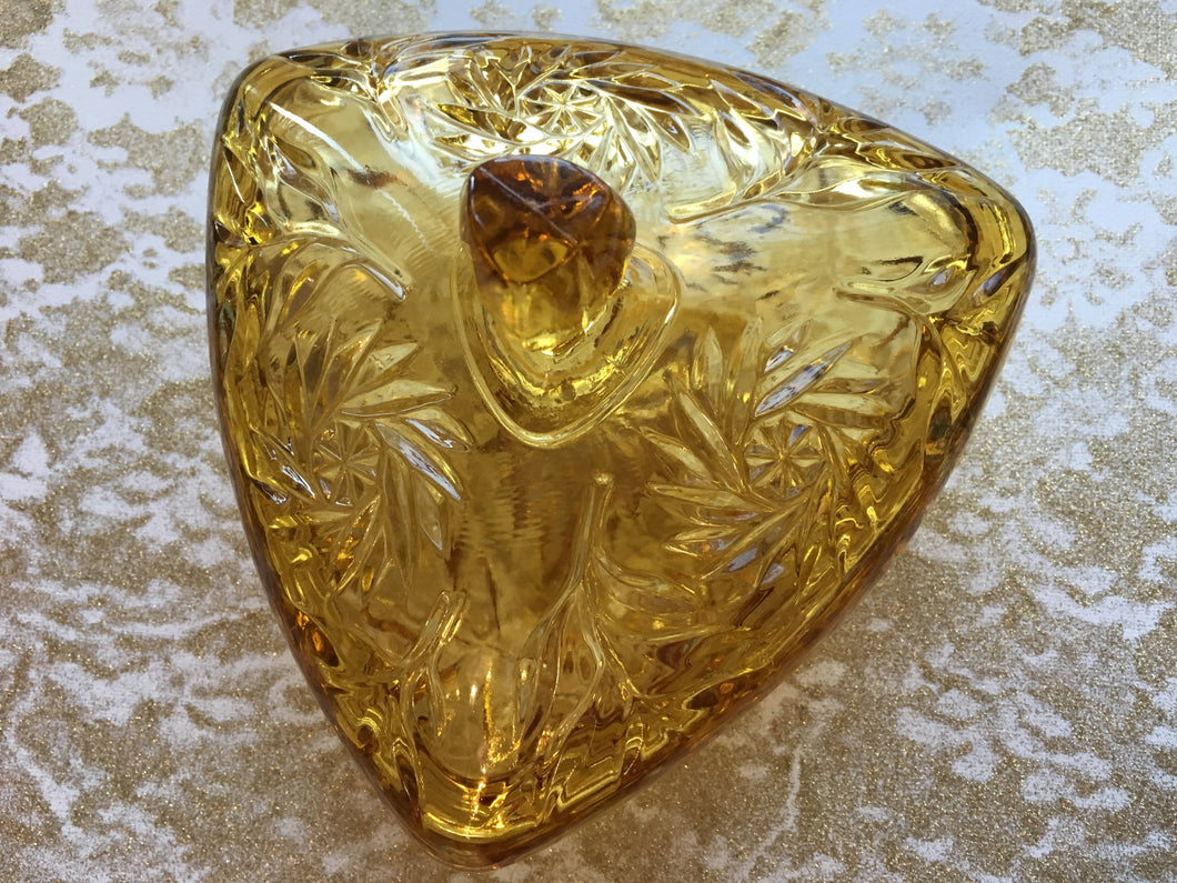 Amber Pinwheel Triangle Dish with Lid (Vintage)