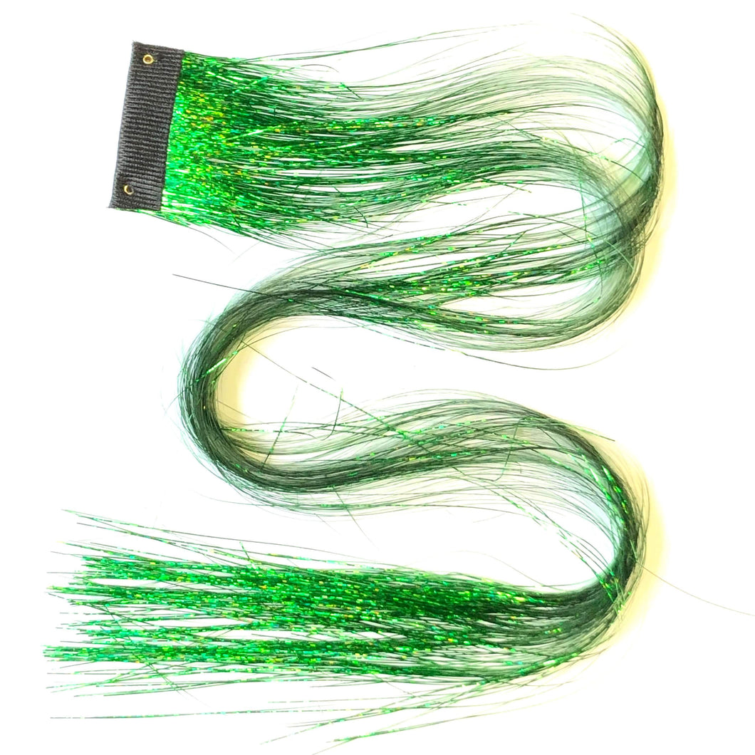 Lucky Green Clip in hair sparkle extensions