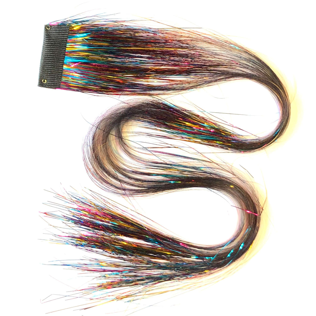 Rainbow Clip in hair sparkle extensions