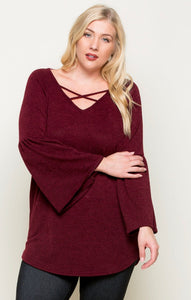 PLUS size Bell Sleeve Criss-Cross Top