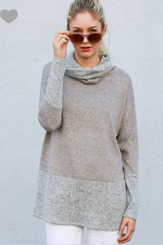 Two-tone Turtleneck Top