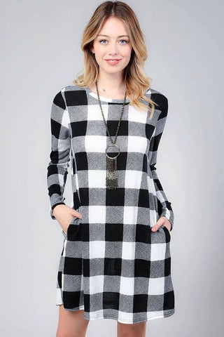 Buffalo Plaid Dress With Pockets