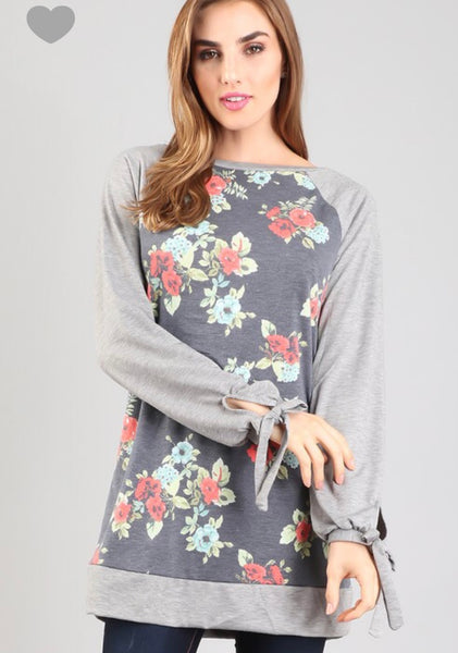 Floral Tunic with Tie Sleeves