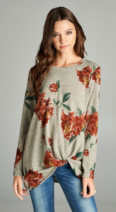 Floral Knot Front Sweater