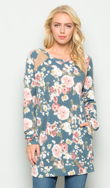 Floral Tunic with Elbow Patches