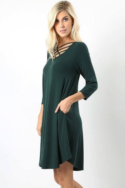 Solid Dress With Criss-Cross Neckline