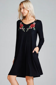 Rose Embroidered Black Dress