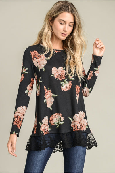 Floral Top with Lace Trim