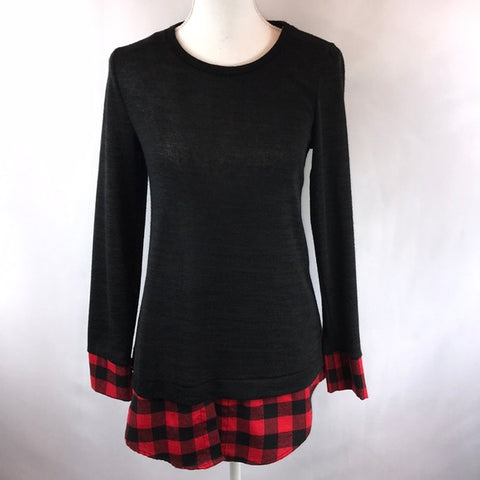 Black Sweater with Buffalo Plaid Trim