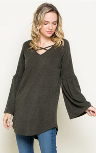 Bell Sleeve Criss-cross Top